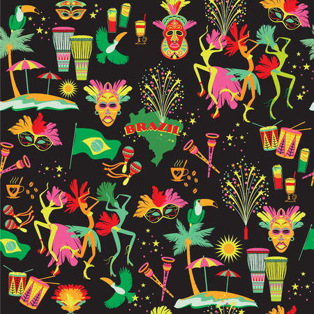 Brazilian Carnival. Vector colorful background. Seamlees pattern.