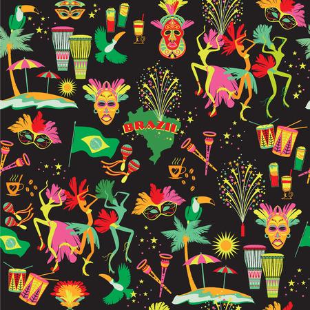 carnaval: Carnaval au Brésil. Vecteur fond coloré. Seamlees motif.