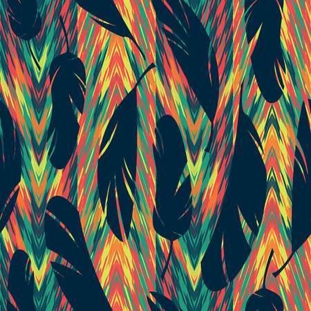iridescent: Vector seamless pattern. Bright abstract feathers. Carnival, celebration, fun.