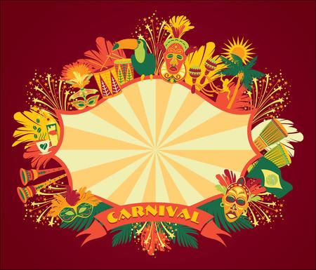 brasil: Brazilian Carnival. Vector colorful background.Frame for design. Illustration