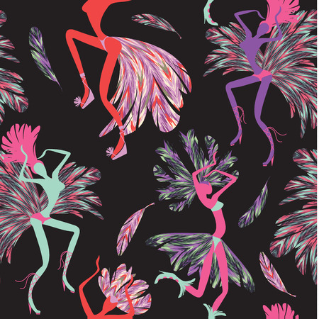 Brazilian Carnival. Vector seamless pattern with dancing women in costumes of feathers. Bright and cheerful. 일러스트