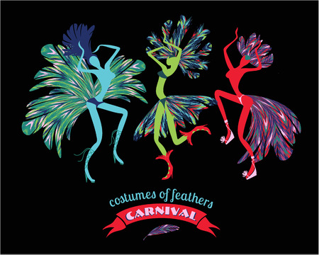 stylization: Illustration of dancing women in carnival costumes of feathers. Stylization, design element. Carnival, celebration, fun.