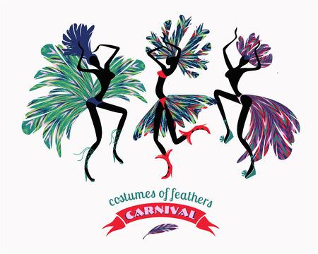 carnaval: Illustration de danseuses en costumes de carnaval de plumes. Stylisation, élément de design. Carnaval, célébration, amusement.