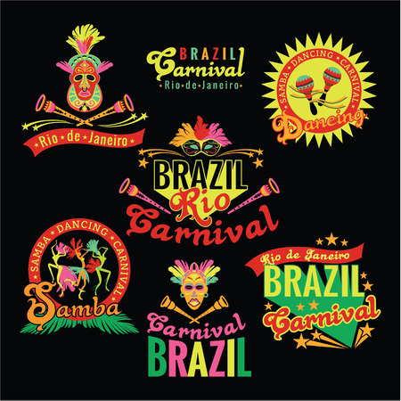 logo music: Brazilian Carnival. Big set of Brazilian templates for graphic modules, banners, posters, flyers, presentations.