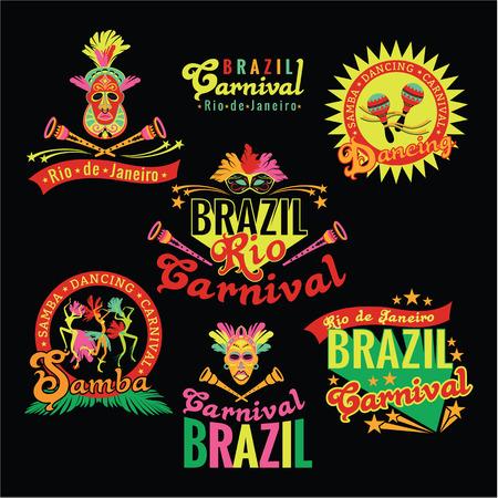 logotipo turismo: Carnaval de Brasil. Gran conjunto de plantillas brasile�as para gr�ficos m�dulos, pancartas, carteles, folletos, presentaciones.