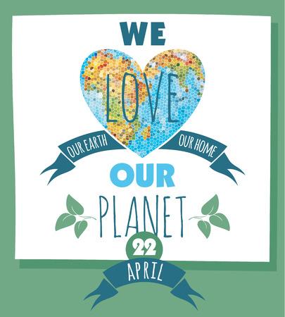 Ilustración del vector del Día de la Tierra. Elemento de diseño.