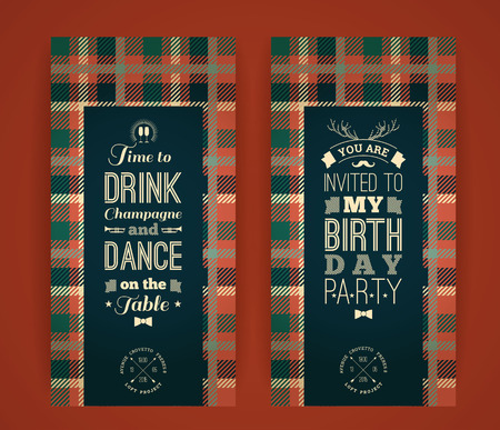 masculine: Happy birthday invitation, vintage retro background with plaid pattern. Hipster style. Vector illustration.