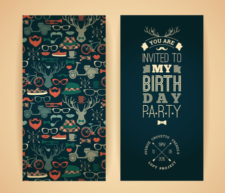 Happy birthday invitation, vintage retro background with hipster seamless pattern. Hipster style. Vector illustration.