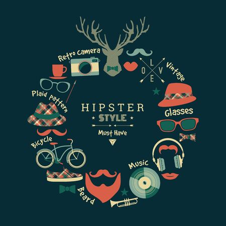 manlike: Flat design vector illustration of hipster style. Retro color.