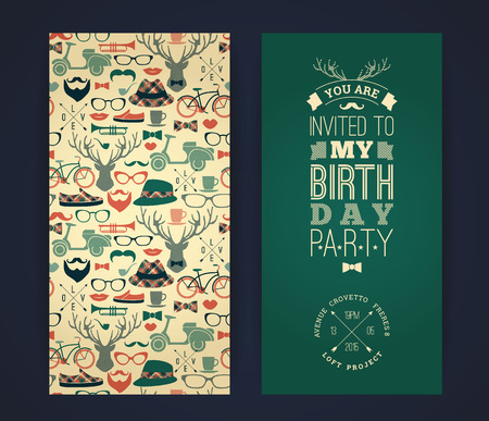 retro and vintage: Happy birthday invitation, vintage retro background with hipster seamless pattern. Hipster style. Vector illustration.