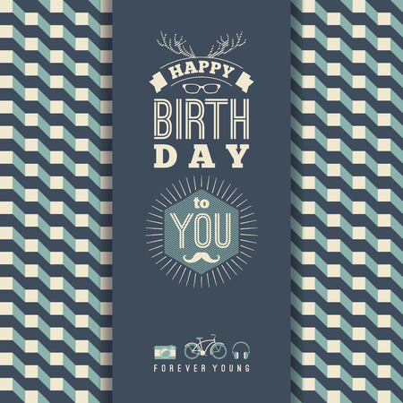 congratulations card: Happy birthday congratulations, vintage retro background with geometric pattern. Hipster style. Vector illustration.