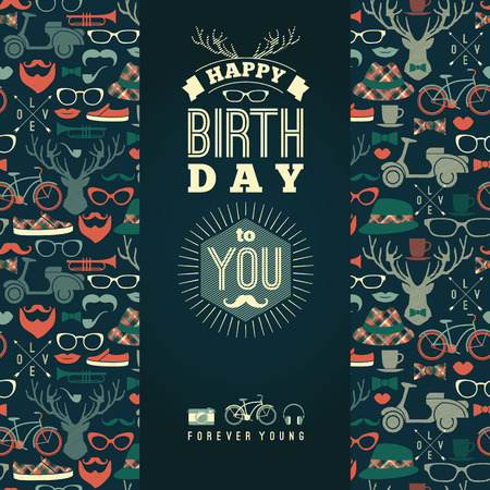 masculine: Happy birthday congratulations, vintage retro background with hipster seamless pattern. Hipster style. Vector illustration. Illustration