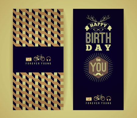 Happy birthday congratulations, vintage retro background with geometric pattern. Hipster style. Vector illustration. Vector