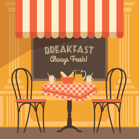 creamer: Vector modern flat design illustration of street cafe. Design element.