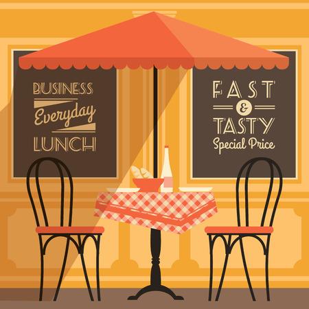 Vector modern flat design illustration of street cafe. Design element.