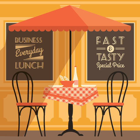 restaurant tables: Vector modern flat design illustration of street cafe. Design element.