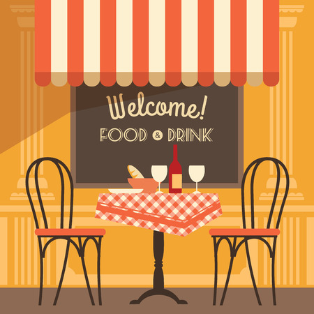 Vector modern flat design illustration of street cafe. Design element. Zdjęcie Seryjne - 38158987