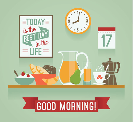 Vector modern flat design illustration of breakfast. Good morning mood. Design elements