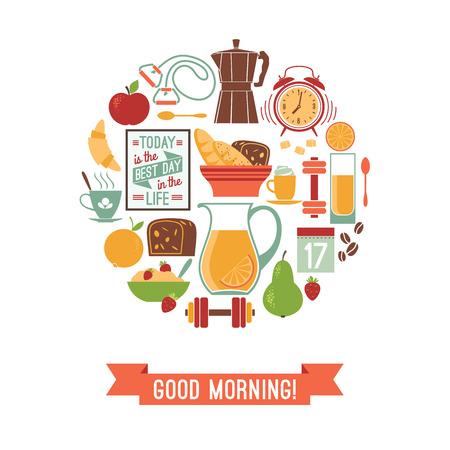 good life: Vector modern flat design illustration of  Good morning. Design elements