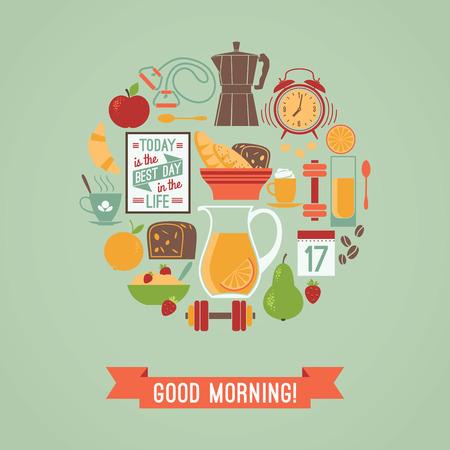 buena salud: Vector ilustración moderna diseño plano de Buenos días. Los elementos de diseño