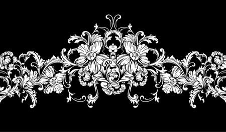 barroco: Ornamentales frontera, marco. Modelo barroco. Inconsútil del vector. Elemento de diseño. Vectores