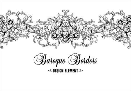flowery: Ornamental border, frame. Baroque pattern. Vector seamless. Design element.