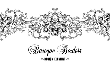 Ornamental border, frame. Baroque pattern. Vector seamless. Design element.