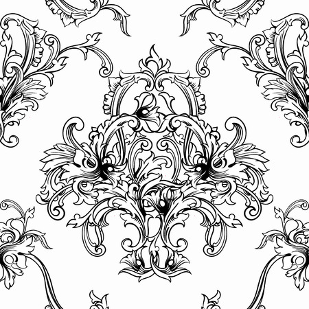 baroque: Seamless vector background. Baroque pattern. Design element.