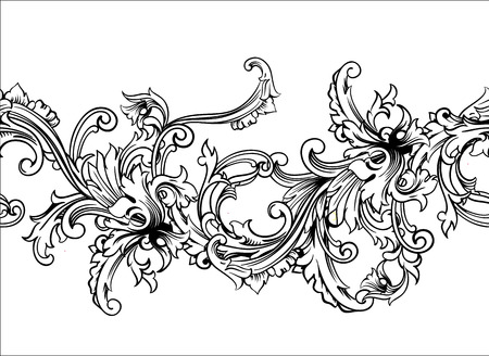 baroque background: Ornamental border, frame. Baroque pattern. Vector seamless. Design element.