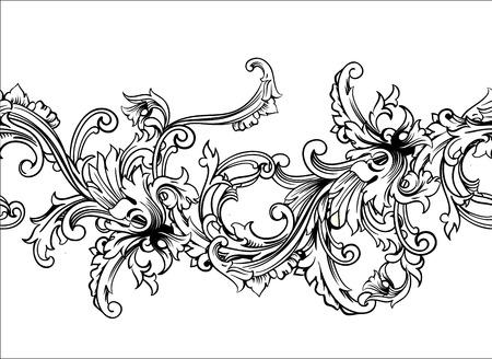 damask wallpaper: Ornamental border, frame. Baroque pattern. Vector seamless. Design element.