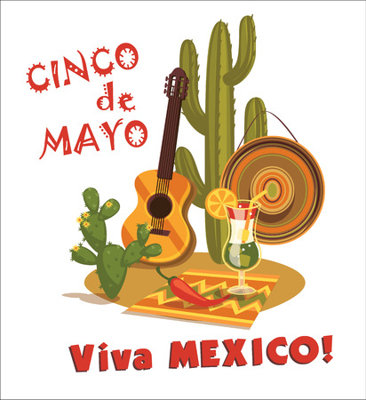 Cinco de Mayo illustratie met traditionele Mexicaanse symbolen. Stock Illustratie