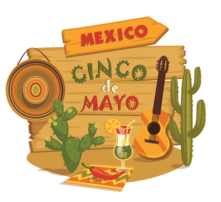 mexican background: Cinco de Mayo illustration with traditional Mexican symbols. Illustration