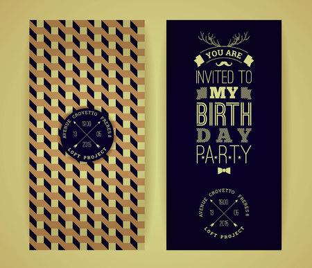 masculine: Happy birthday invitation, vintage retro background with geometric pattern