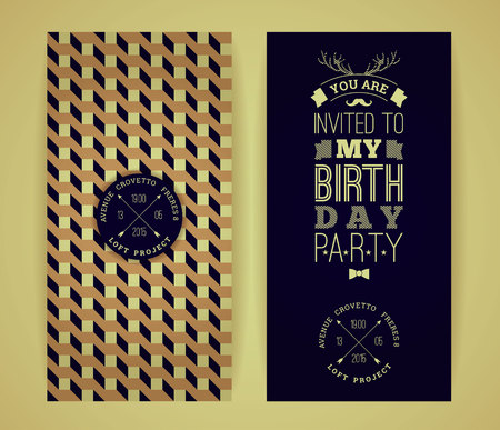 Happy birthday invitation, vintage retro background with geometric pattern