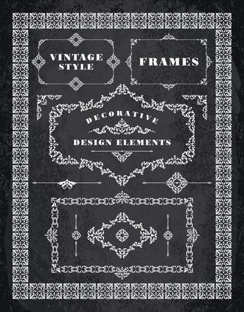 accents: Set of Retro Vintage Badges, Frames, Labels and Borders. Design elements. Chalk Board Background Illustration