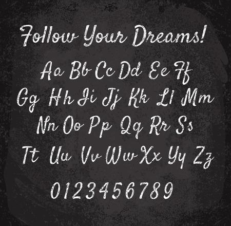 illustration of chalked alphabet. Imitation texture of chalk  イラスト・ベクター素材