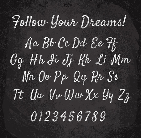 illustration of chalked alphabet. Imitation texture of chalk 일러스트