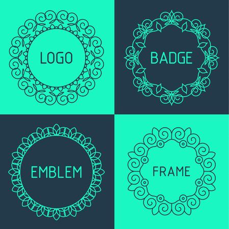 Vector outline frames and badges. Elements design templates for logo, emblems and monogram.  イラスト・ベクター素材