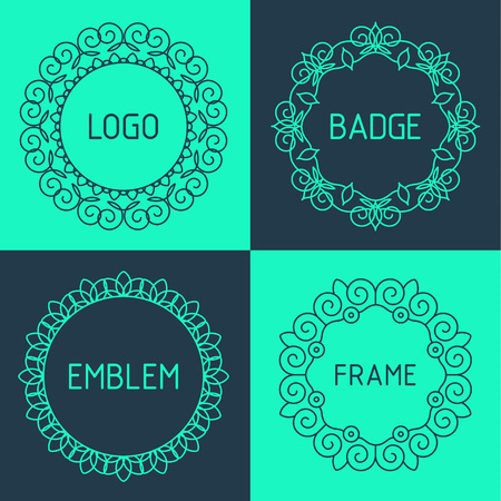 Vector outline frames and badges. Elements design templates for logo, emblems and monogram. 向量圖像