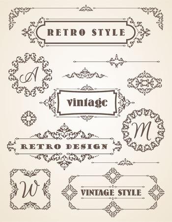 Set of Retro Vintage Badges, Frames, Labels and Borders. Design elements.