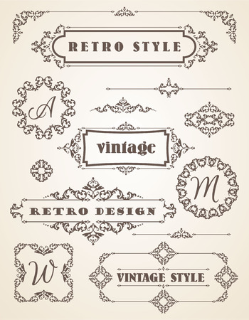 lineas decorativas: Conjunto de Retro Insignias Vintage, Marcos, Etiquetas y Fronteras. Los elementos de diseño.