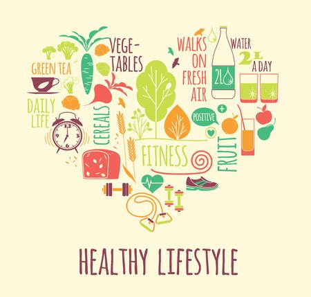illustration of Healthy lifestyle in heart shape Illustration