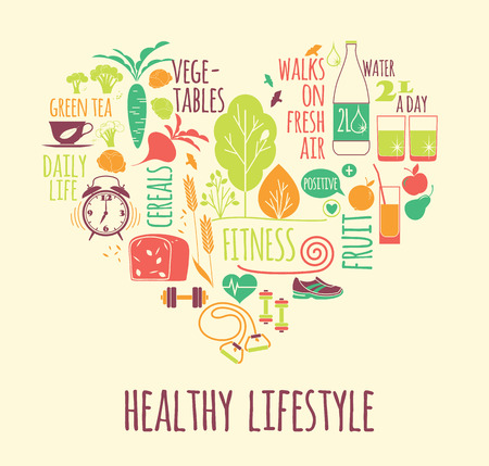 illustration of Healthy lifestyle in heart shape Vettoriali