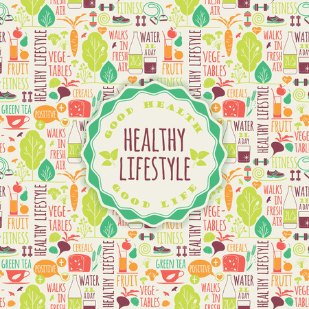 건강: 건강한 라이프 스타일 요소의 그림
