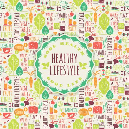 salud y deporte: Ilustración de los elementos de estilo de vida saludables