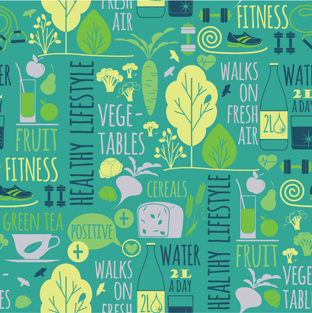 Healthy lifestyle seamless background Illustration