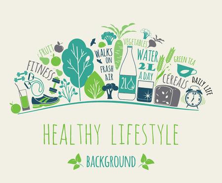 라이프 스타일: 건강한 라이프 스타일 요소의 그림