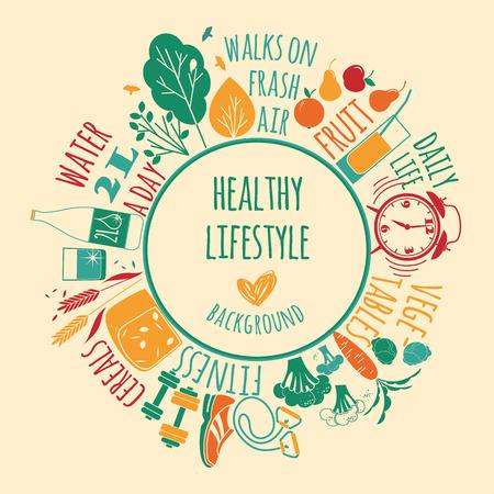 illustration of Healthy lifestyle Elements