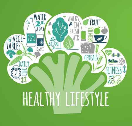 sport mats: illustration of Healthy lifestyle Elements