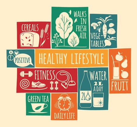 Ilustración vectorial de estilo de vida saludable. Elementos para el diseño Foto de archivo - 39185948
